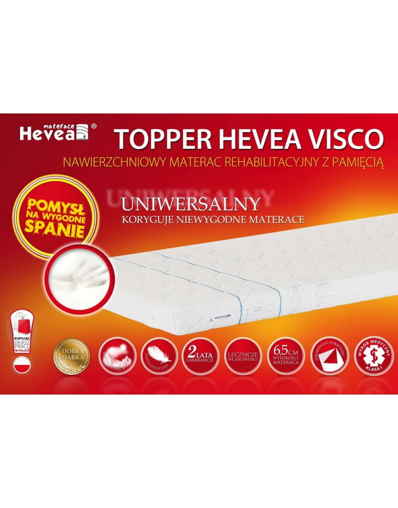 hevea topper visco 180x200 200x180 materac nawierzchniowy gratis poduszka visco hevea. Black Bedroom Furniture Sets. Home Design Ideas